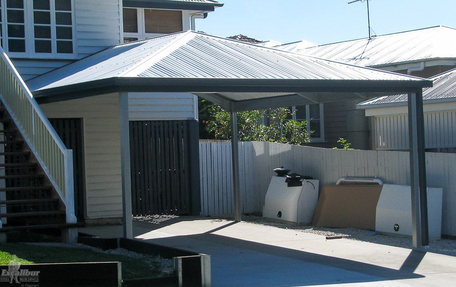 Hip roof carport diy kits for sale genuine colorbond for Gable roof carport