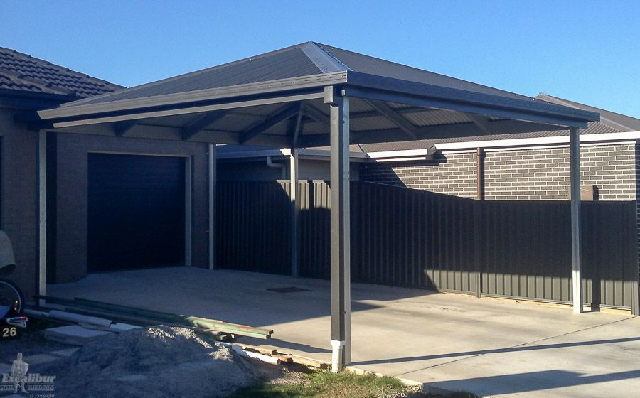 Hip roof carport diy kits for sale genuine colorbond for Gable roof carport price