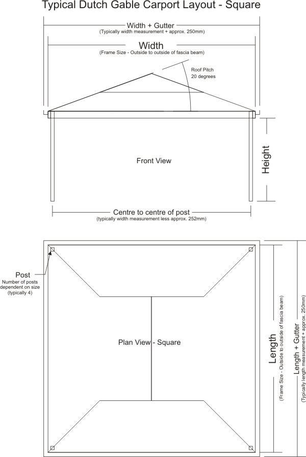 Typical Dutch Gable Carport Kit - Square