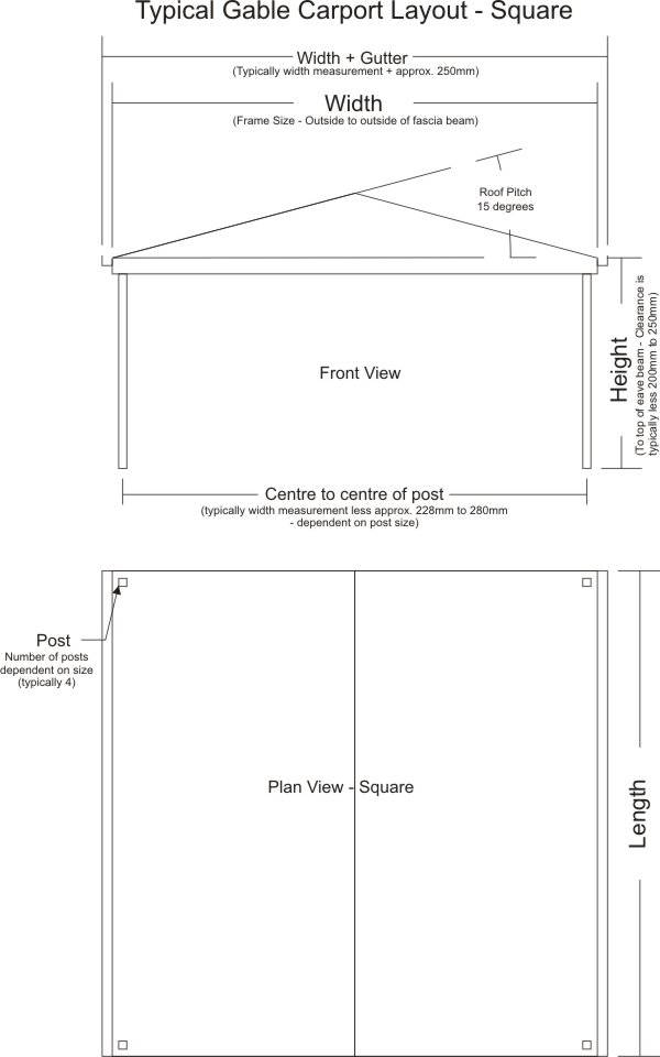 Typical Gable Carport Layout - Square