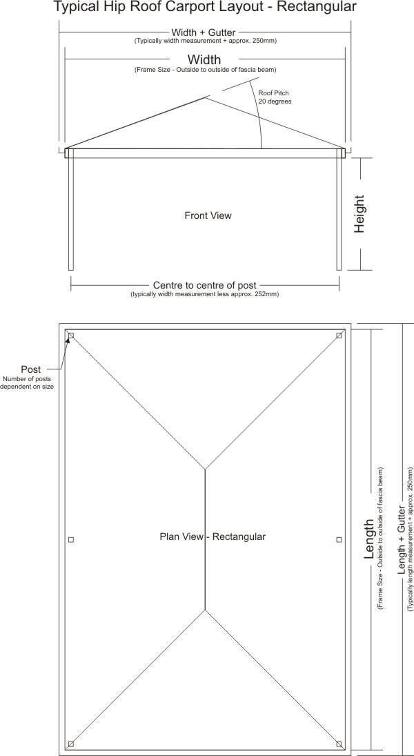 Typical Hip Roof Carport Layout - Rectangular