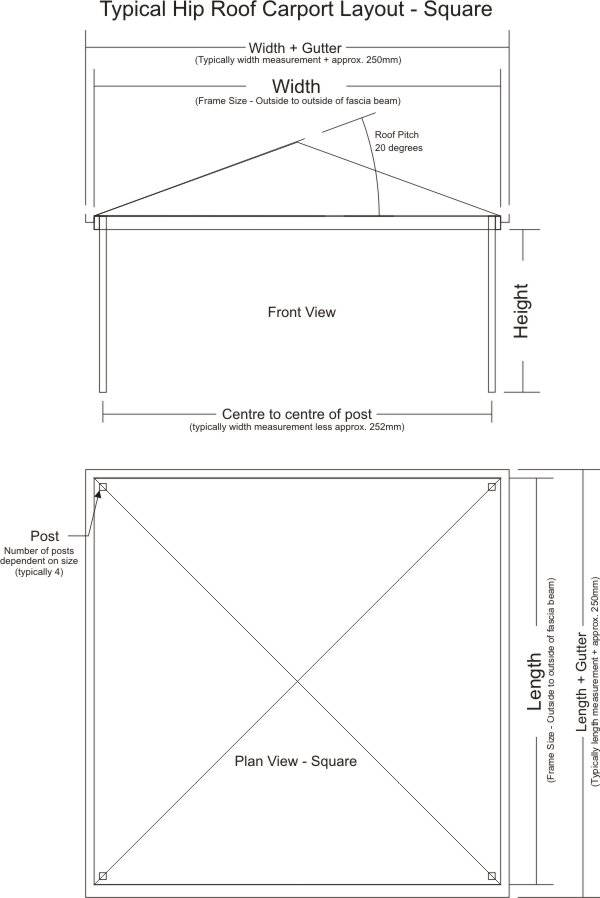 Typical Hip Roof Carport Layout - Square