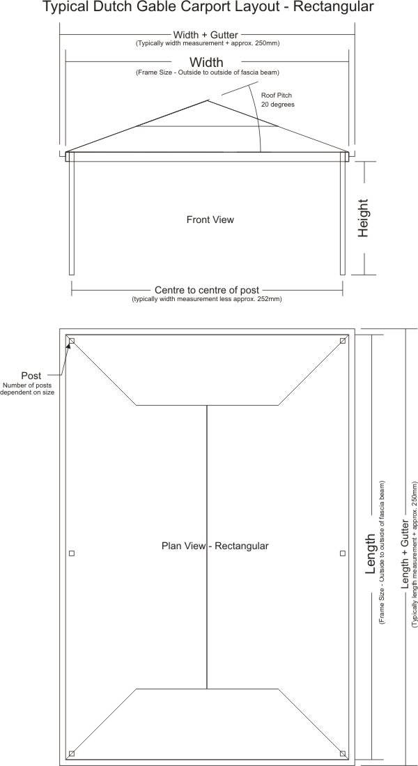 Typical Dutch Gable Carport Layout - Rectangular